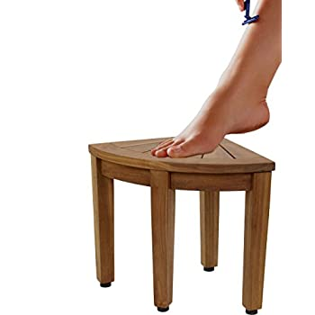 Image of AquaTeak 12' Kai OptiAREA Corner Teak Foot Stool Bath & Shower Safety Seating & Transfer Benches