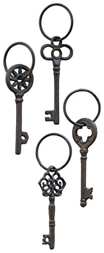 Young's Cast Iron Single Key on Ring, 7-Inch, Set of 4 (30444)