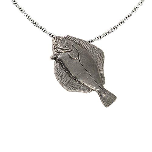 (Summer Flounder Fish Pewter Pendant, Necklace, Jewelry, S063PEN)