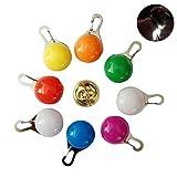 Pawaca 8Pcs Clip-On Dog & Cat Collar LED Lights,Safety LED Clip Buckle Night Light Flashing Collar Pendant,Golden Bell