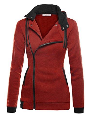WAJAT - Chaqueta para Mujer Sudadera con Capucha Rojo