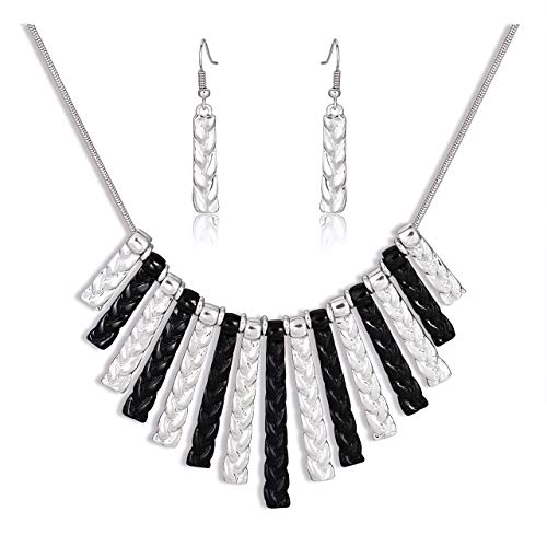 CENAPOG Vintage Tribal Minimalist Collar Necklace for Women Chunky Bib Necklace Twisted Braided Bar Pendant Drop Earrings Choker Necklace Statement Necklace Earrings Set (Mix-Silver/Black) (Bib Drop Necklace)