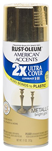 Rust Oleum 280724 American Accents Ultra Cover 2X Spray Paint, Metallic Gold, 11-Ounce