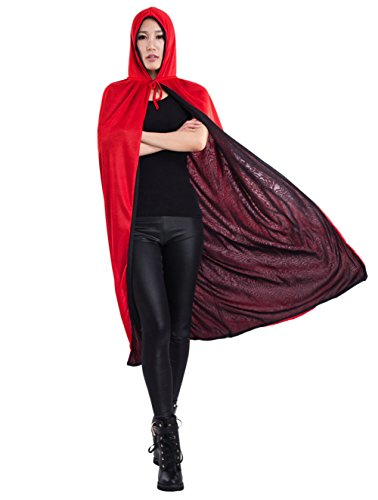 Unisex Reversible Hooded Cape Cloak Halloween Cosplay Christmas Party Costumes