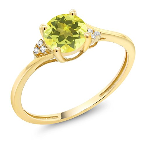 10K Yellow Gold Diamond Accent Engagement Ring Set with 6mm 1.05 Ct Round Canary Mystic Topaz (Size - Rings Ca Engagement