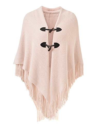 Ferand Women's Loose Fitting Poncho Cape Shawl with Stylish Horn Buttons, V Neckline and V Hem, Pink