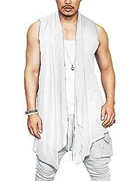 Men's Summer Ruffle Shawl Collar Sleeveless Cardigan Lightweight Cotton Long Length Drape Cape Vest