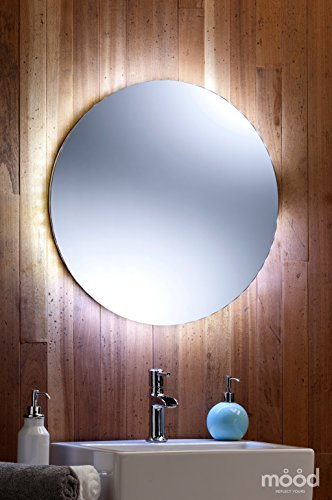 Bathroom Mirror LED Ambient White Surround Light Round Circular 60cm X With Lights 01del Amazoncouk Kitchen Home