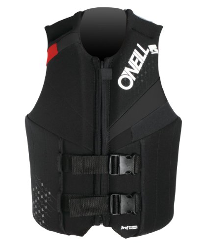 Black Kids Life Vest (O'Neill Wetsuits Wake Waterski Teen USCG Life Vest, Col/Black/Red, 75-125 lbs)