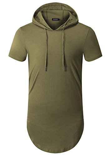 OLRIK+Men%27s+Short+Sleeve+Crew+Neck+Hooded+Swag+Extended+T+Shirts+Army+Green+XXL