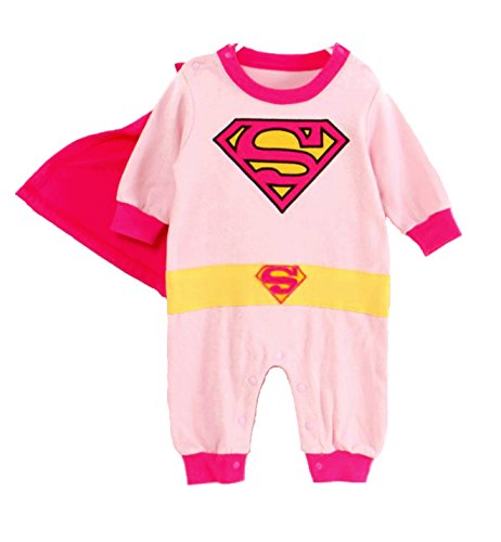 VogueFashion Baby Superhero Jumpsuit with Removable Cape (6-12 Months, (7 Supergirl Halloween)