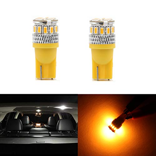 Replacement High Power T10 Wedge Amber Yellow 194 168 2825 175 W5W 194A LED Bulbs 3014 18 LED Lights Bulb Lamp for Front Side Marker light,Rear Side Marker Light,Interior Dome Light,License Plate ...