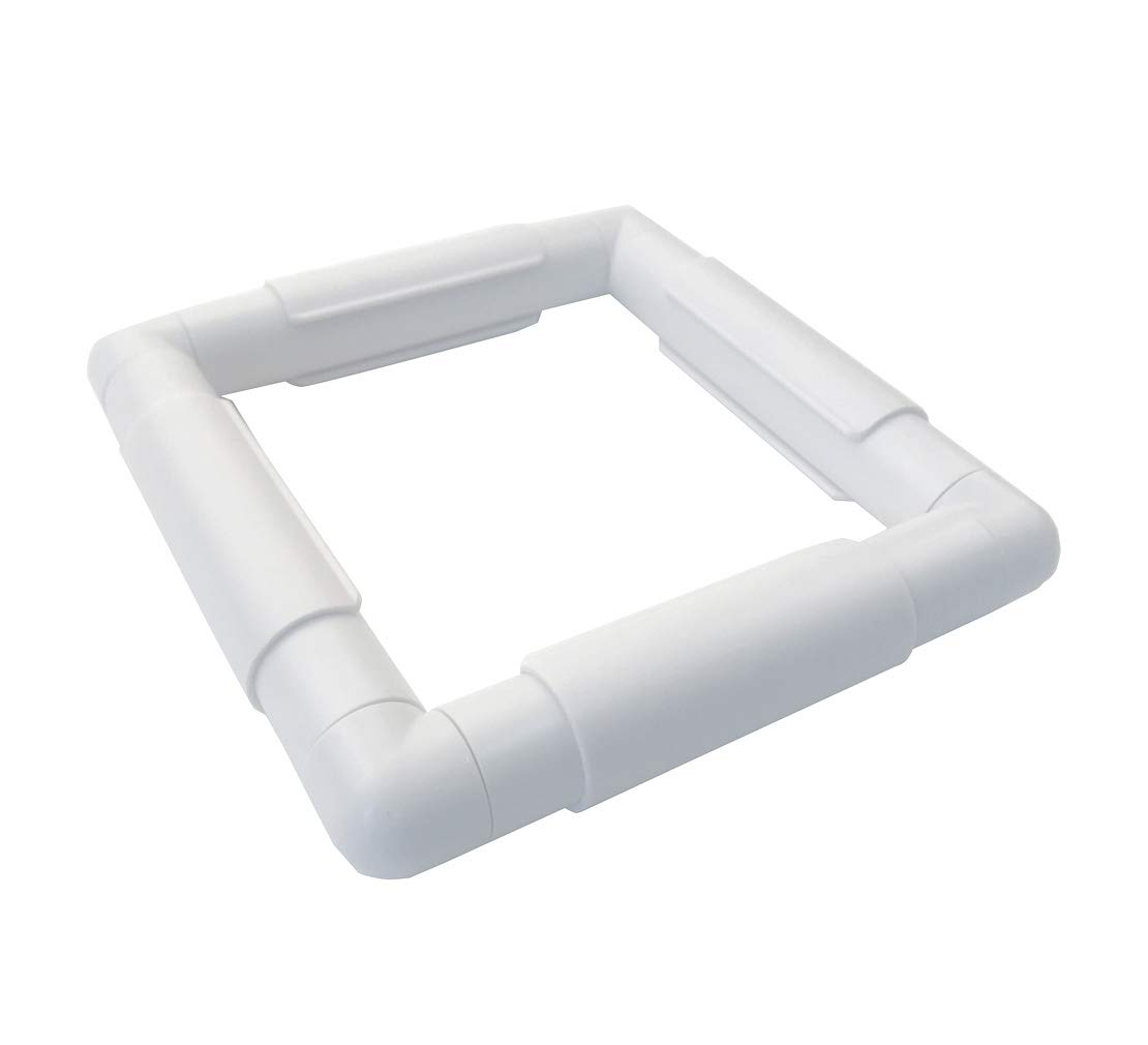 A: 6 X 6 Plastic Cross Stitch Frame Square Embroidery Hoop White DIY Sewing Tools Sewing Hoop Handhold Craft Clip Embroidery Snap Frame Hoop for Cross Stitching Quilting