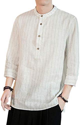 NCFBAG リネンシャツ 綿麻 Tシャツ 七分袖 無地 メンズ 夏服 立つ襟 薄手 おしゃれ メンズシャツ トップス 柔らかい 人気 対応