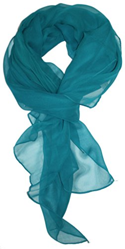 Love Lakeside Modern Chiffon Solid Color Silk Blend Oblong Scarf Teal