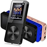 MP3 Player with Speaker,8GB Lossless Sound Metal MP3 Music Player with FM Radio/Voice Recorder,Supports up to 64GB TF Card,Black