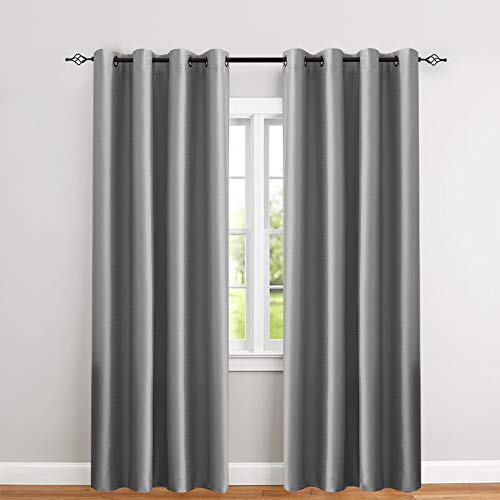 jinchan Faux Silk Satin Blackout Curtains for Living Room Luxury Dupioni Thermal Insulated Grommets Top Drapes for Bedroom, (50-inch x 84-inch, Grey, Pack of Two)