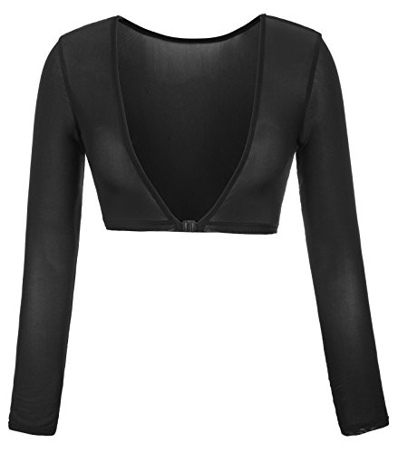 Kate Kasin Womens Mesh Sheer Sexy Long Sleeves Crop Top (M,0899#Black)