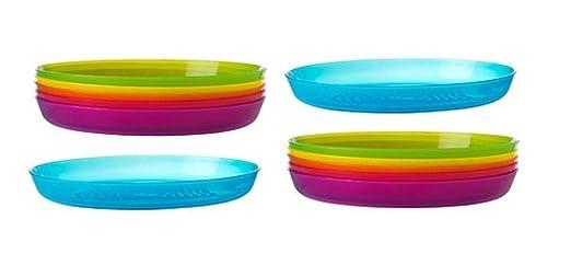Assiettes en plastique incassables Ikea de 6 couleurs assorties au design élégant