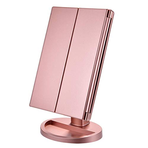 KOOLORBS Makeup Mirror with Lights, 1x 2X 3X Magnification, Lighted Makeup Mirror, Touch Screen Switch, Vanity Mirror with Lights, Dual Power Supply, Portable Trifold Makeup Mirror, Female Gift