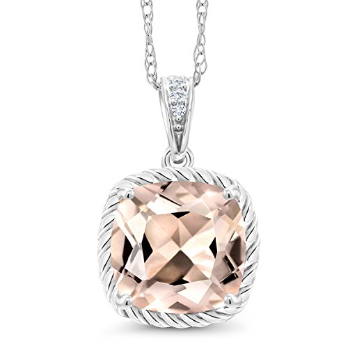 Gem Stone King 10K White Gold Morganite and Diamond Pendant Necklace 1.90 Ct Cushion Cut with 18 Inch Chain