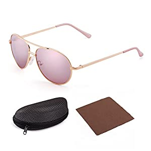 LotFancy Aviator Sunglasses for Kids Girls Children, Metal Frame, 50mm, Ultralight, Comfortable