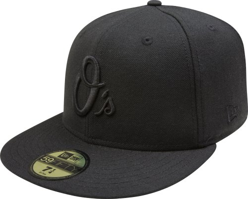 MLB Baltimore Orioles Black on Black 59FIFTY Fitted Cap, 7 3/8