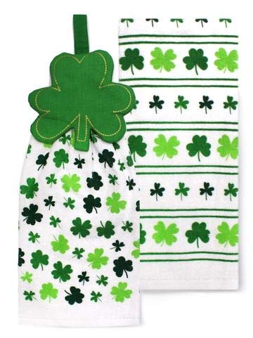 Celebrate St. Patrick's Day Together 2-Pack Kitchen Towel Set - Quilted Shamrock Tie-Top]()