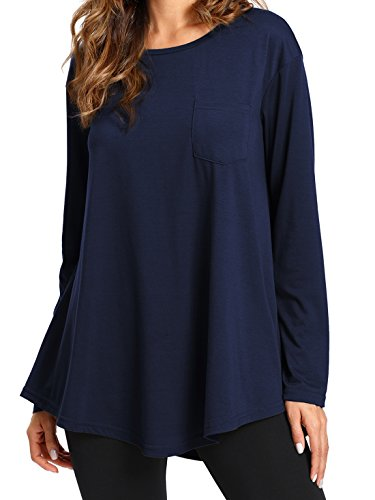 Romwe Swing Tunic Tops Long Sleeve Loose Fit Tee Tshirt Navy XXL