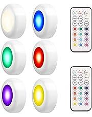 LEDGLE RGB Kastverlichting LED Spot Batterij-aangedreven Nachtlampje met Afstandsbediening, 4 Kleurmodi, 50lm, 3W, 6 Stuks
