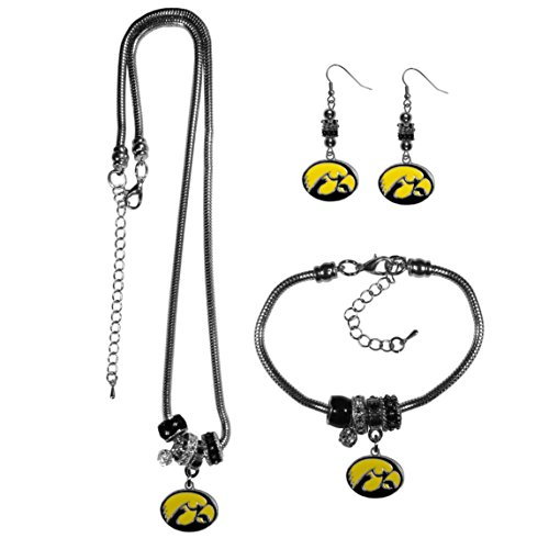 Siskiyou NCAA Iowa Hawkeyes Euro Bead Jewelry Set of 3 ()