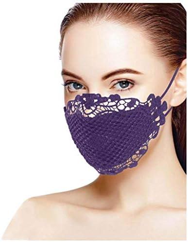 Eaylis 2 Stück Spitze Damen Face Mask Glänzend Blume Print Atmungsaktive Baumwolle Stoff Waschbar Mund Und Nasenschutz Bandana Halstuch Bekleidung
