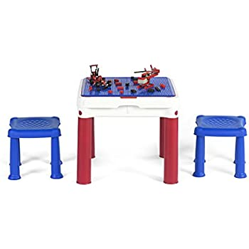 Keter ConstrucTable Kids Activity And Play Table With 2 Chairs, Duplo U0026 Lego  Compatible