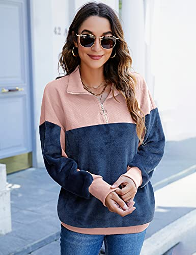 IECCP Womens Casual Stand Collar Sweatshirt Colorblock 1/4 Zip Long Sleeve Pullover Tops,Pink/Navy,L