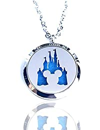 FIKA Mickey Mouse Aromatherapy Essential Oils Necklace Pendant Air Freshener Locket Pads Included