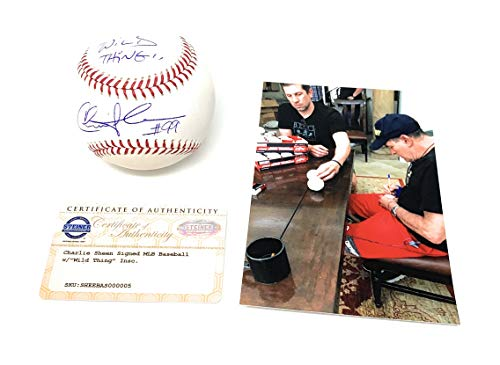 Charlie Sheen Ricky Vaughn Major League The Movie Signed Autograph Official MLB Baseball INSCRIBED WILD THING Steiner Sports Certified from Mister Mancave