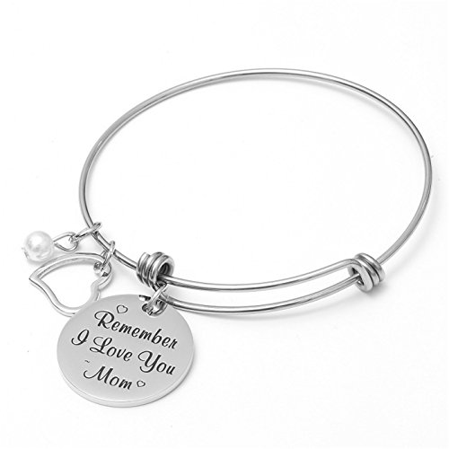 AISHOW Mom Gift from Daughter Son - Remember I Love You Mom Motivational Charm Stainless Steel Cuff Bangle Bracelet for Mothers Day, Birthday Gifts for Mom, Mother Jewelry for Christmas (Silver 2)