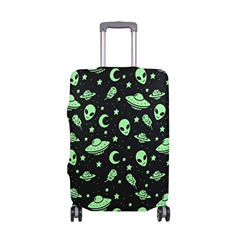 60d8b31af929 FANTAZIO Green Alien UFO Moon Suitcase Protective Cover Luggage Cover