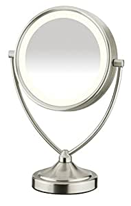 Conair Round Shaped Natural Daylight Double-Sided Lighted Makeup Mirror; 1x/10x magnification; Satin Nickel Finish