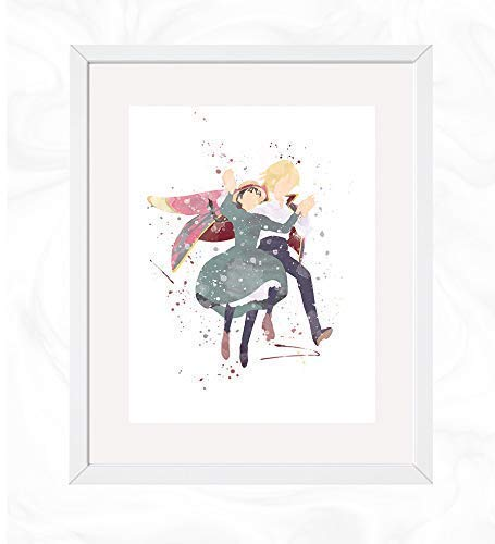 Howl and Sophie Walk Flying Prints, Howl's Moving Castle. Watercolor, Nursery Wall Poster, Holiday Gift, Kids and Children Artworks, Digital Illustration ()