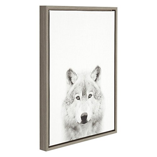 Kate and Laurel - Sylvie Wolf Animal Print Black and White Portrait Framed Canvas Wall Art by Simon Te Tai, Gray 18x24 (Framed Grey Art)