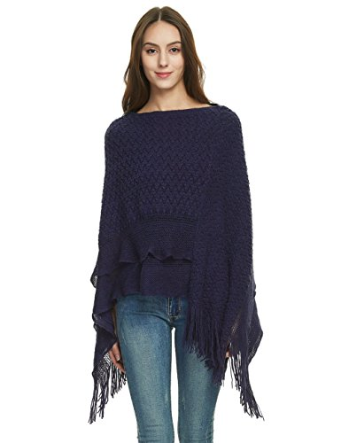 Ferand Women's Cable Knit Ruffle Poncho Sweater with Fringed Hems, One Size, Navy Blue
