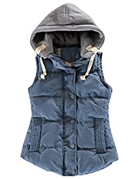 LD Womens Winter Color Block Hoodie Hooded Quilted Padding Vest Waistcoat