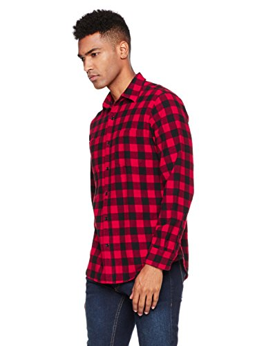 Wood Paper Company Men's Long Sleeve Regular Fit Patch Pockets Buffalo Check Plaid Brushed Cotton Shirt X-Large Red/Black - Mens Brushed Check Shirt