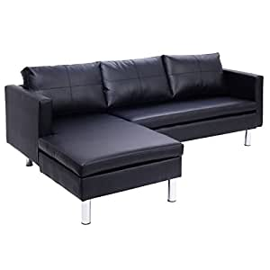 Amazon.com: Giantex Black 3 Leather Seat Sofa and Chaise ...