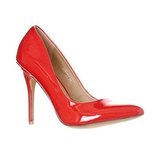 Riverberry Women's Gaby Pointed, Closed Toe Stiletto Pump Heels, Red Patent, 7.5 ()