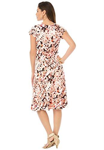 Roamans Women's Plus Size Fit And Flare Cap Sleeve Dress