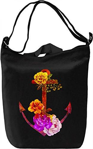 Anchor And Flowers Borsa Giornaliera Canvas Canvas Day Bag| 100% Premium Cotton Canvas| DTG Printing|