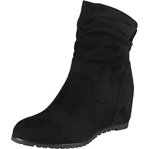 damas 3 Suede 8 para oculta tobillo botas Faux Nuevas trabajo casual negro de cuña mujer da1Owq7S