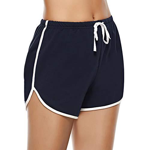 Aibrou Sportshorts voor dames, joggingbroek, pyjamashorts, jerseybroek, korte loopshorts, gestreept, shorty nachtkleding
